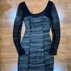 Gorgeous Black/Nude Night-Out Mini Dress